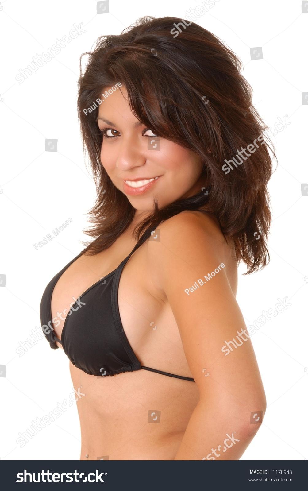 Isolated image of sexy latina girl in bikini on white
