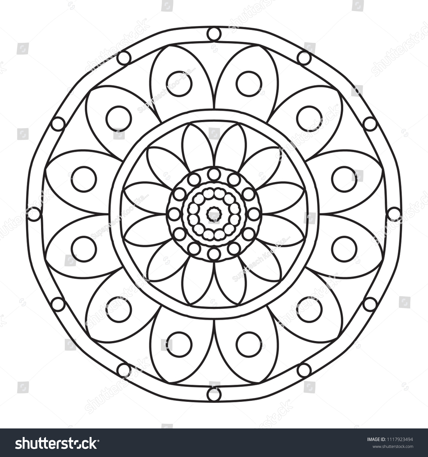 Easy Mandalas Basic Simple Mandala Pattern Stock Illustration 1117923494