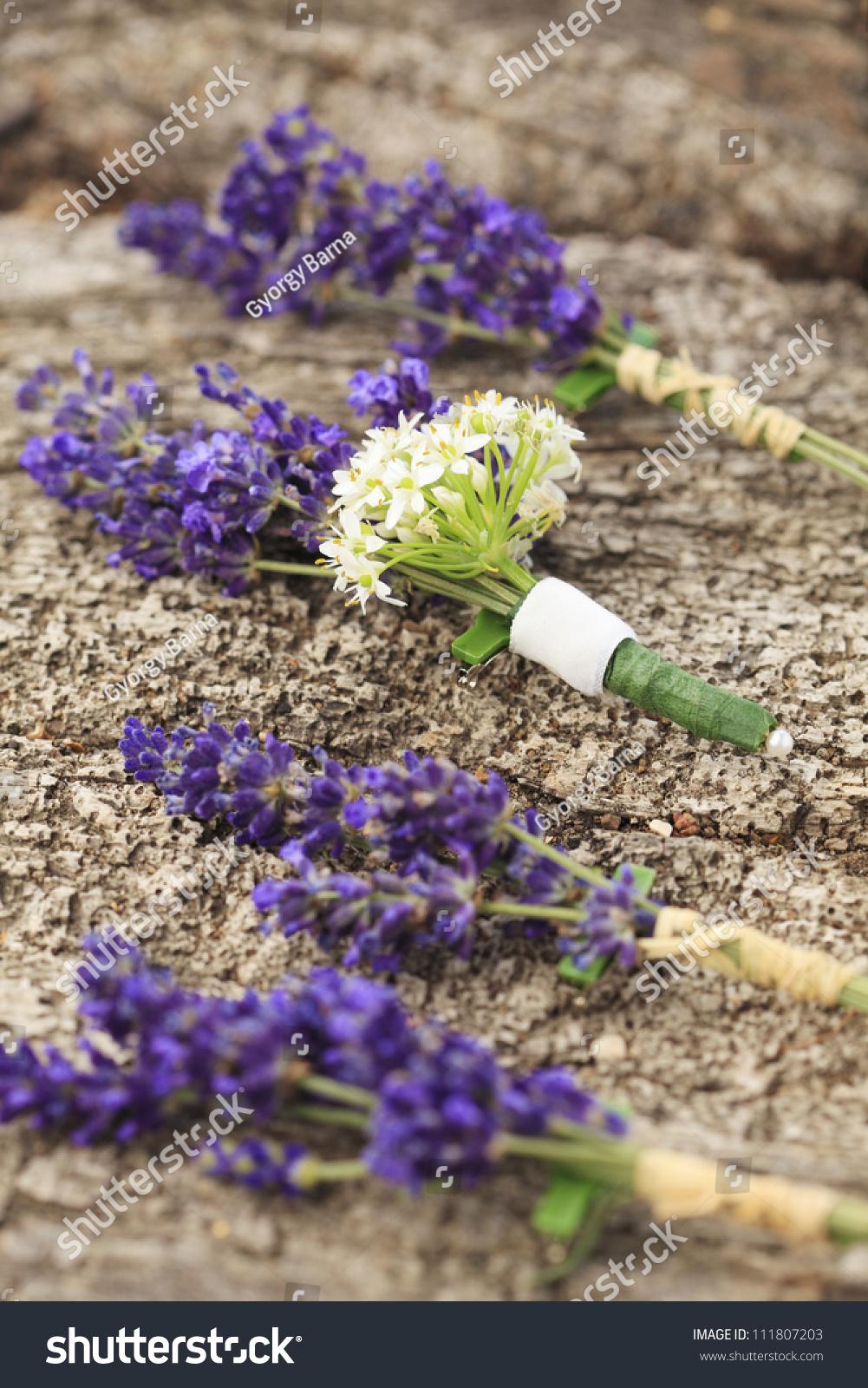 Three Boutonniere Made Purple Lavender White Stock Photo Edit Now