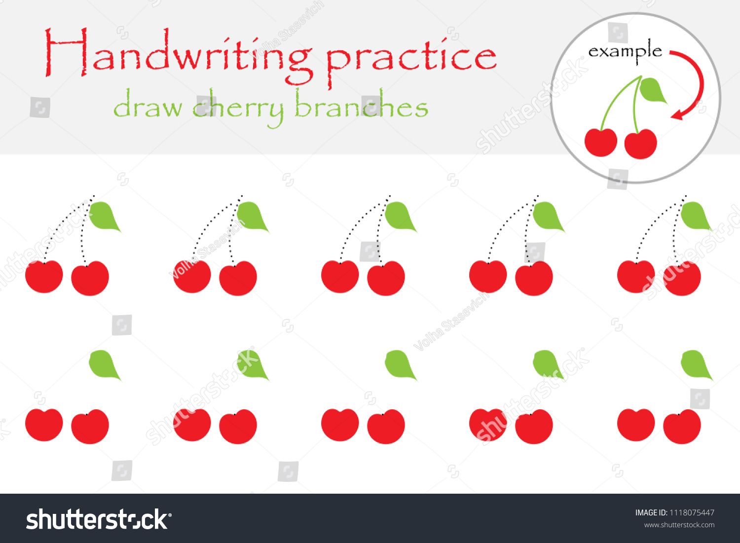 Draw Cherry Branches Handwriting Practice Sheet Stock Vector