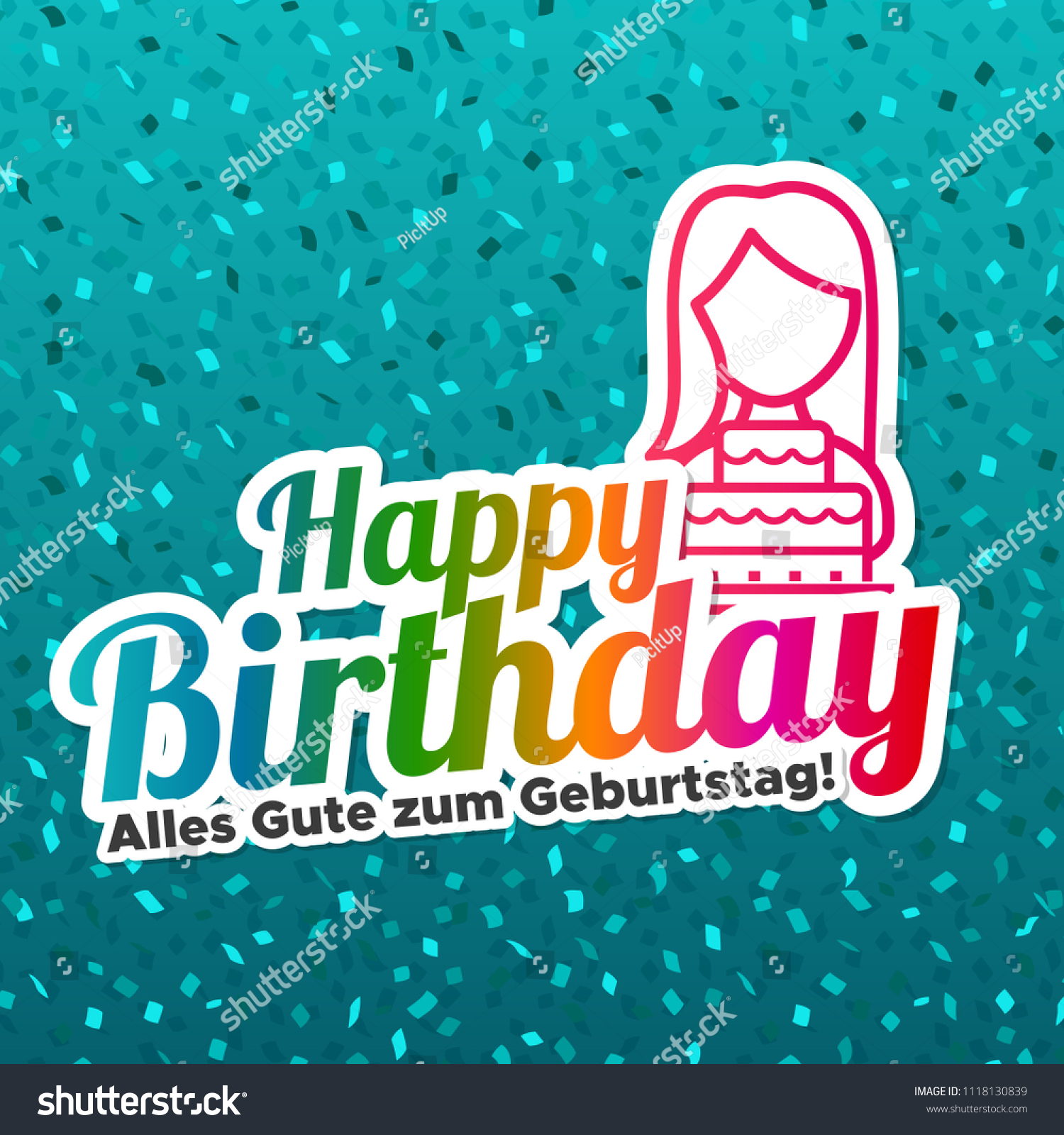 Happy Birthday Greeting Card Germantranslation Alles Stock Vector Royalty Free 1118130839