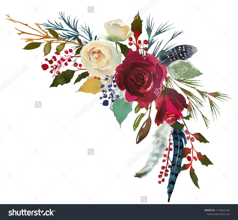 Watercolor Floral Bouquet Burgundy Bordo White Stock Illustration 1118223182