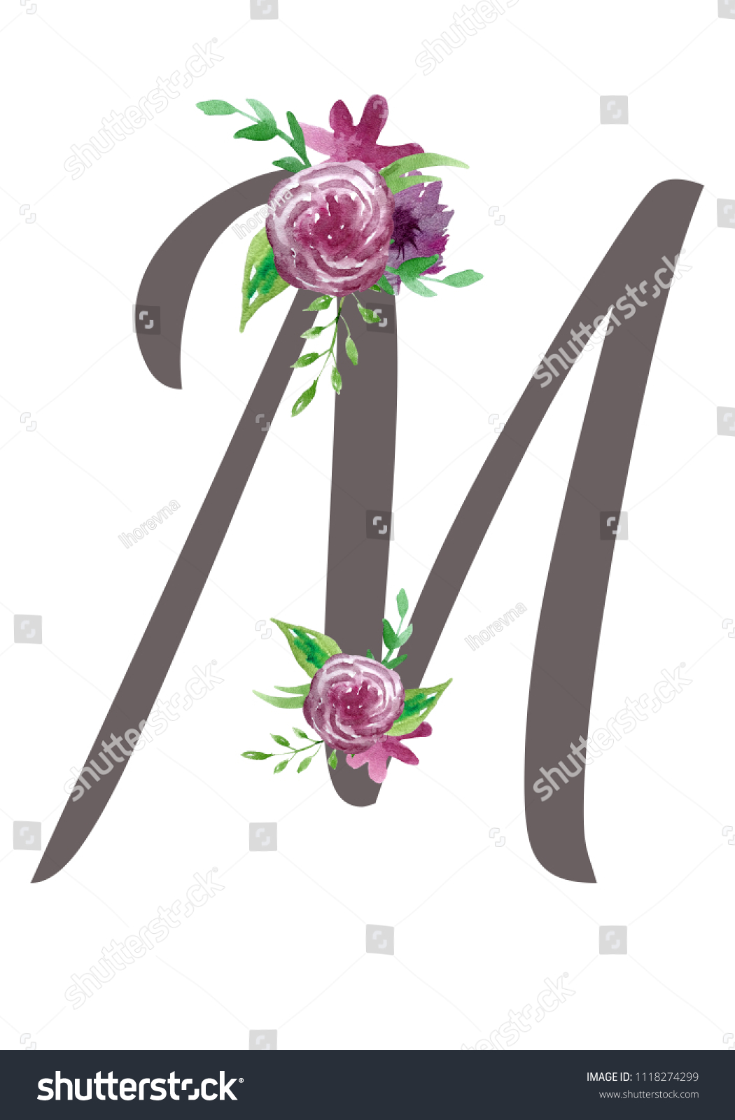 Letter M Decorated Watercolor Colors Collection Stock Illustration