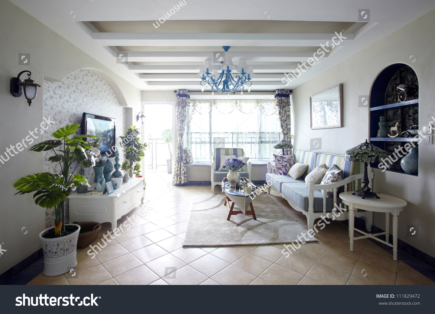 Mediterraneanstyle Living Room Interiors Stock Photo (Royalty Free ...