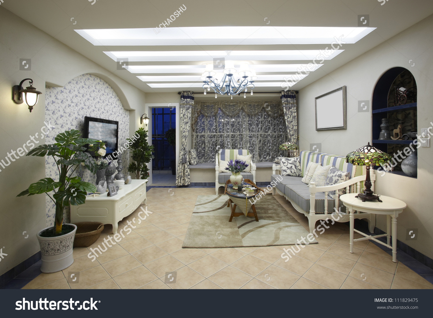 Mediterranean Style Living Room Stock Photo 111829475