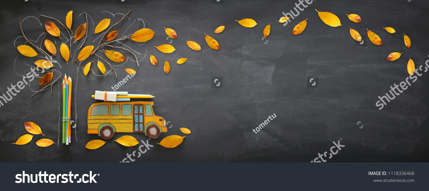 Back to school concept. Top view banner of school bus and pencils next to tree sketch with autumn dry leaves over classroom blackboard background #1118336468