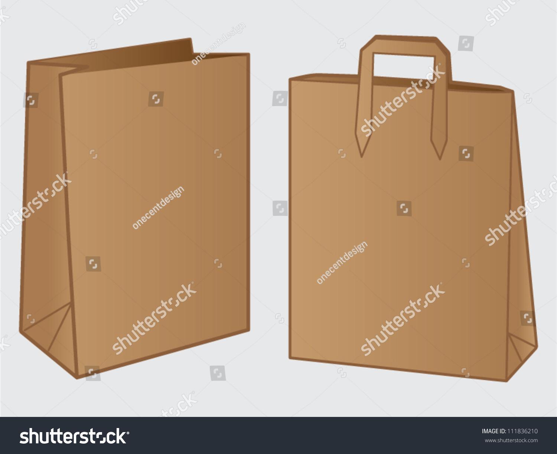 Paper bag vector - Two Brown Paper Bag Design