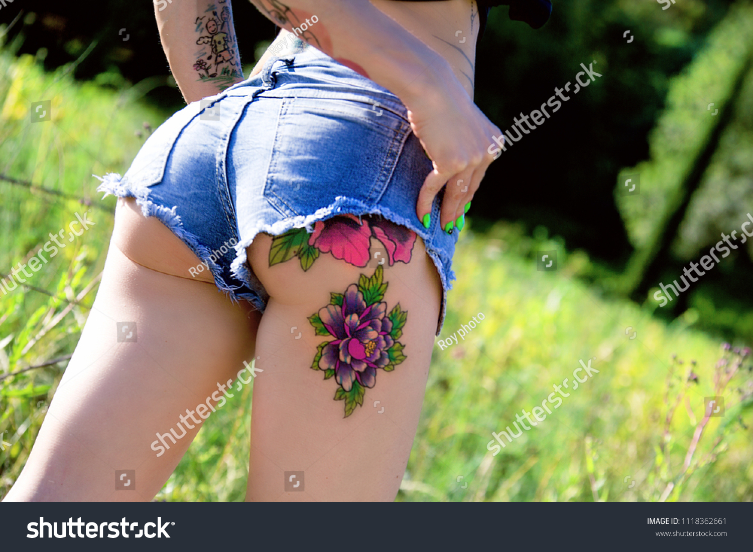 Girl Shows Tattoo On Her Hips Stock Photo Edit Now 1118362661