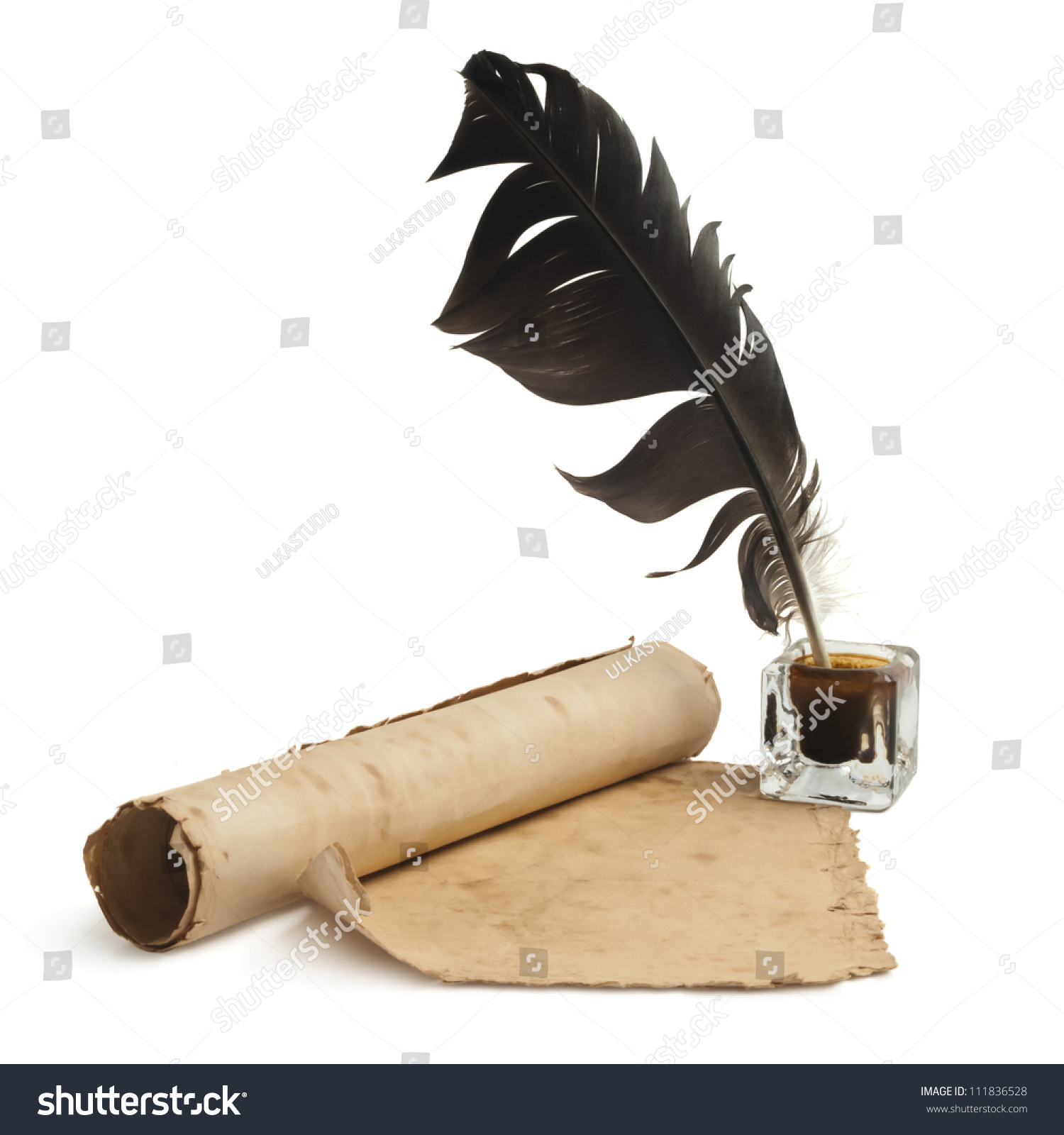 Blank Paper, Quill & Ink Stock Photo 111836528 : Shutterstock