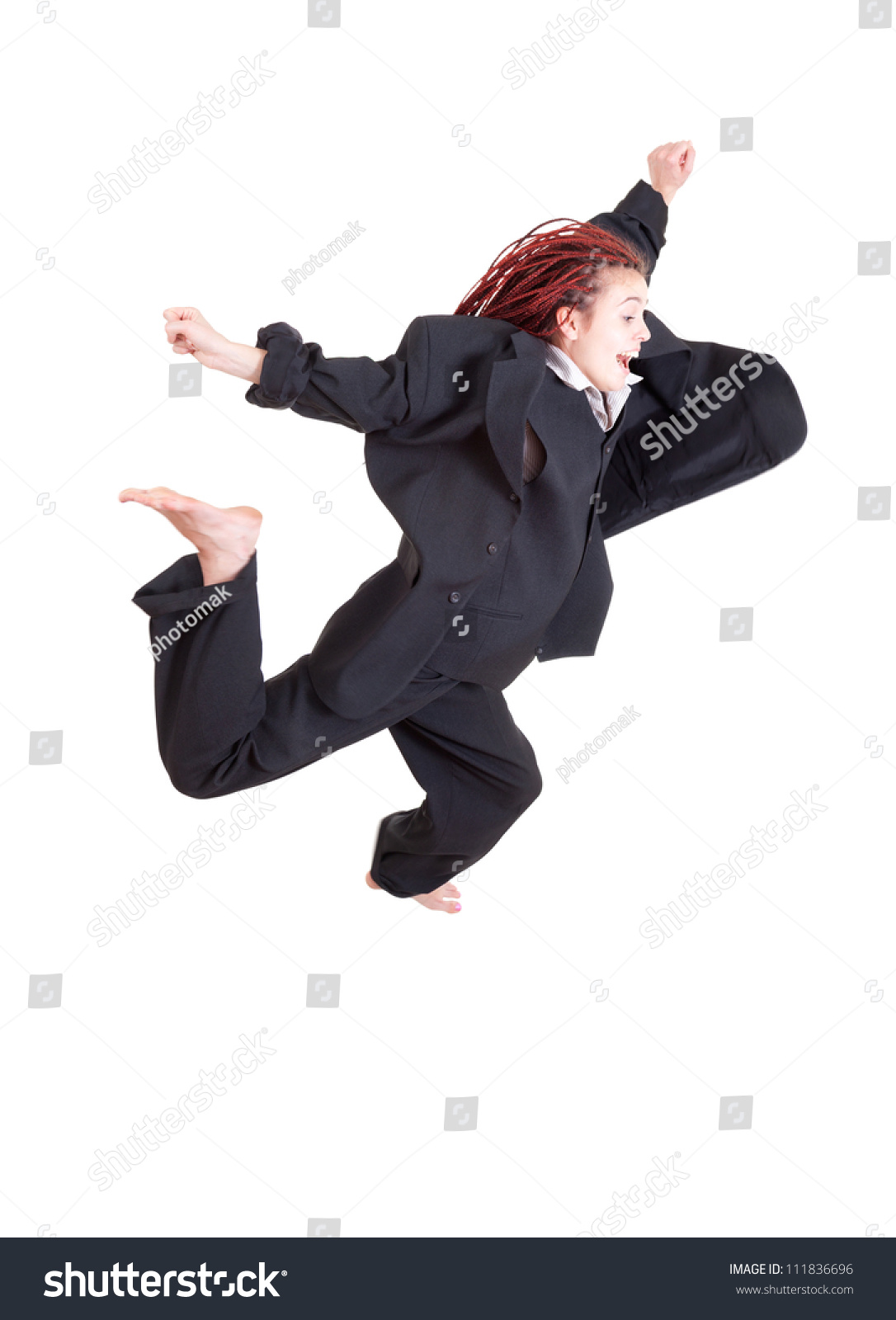 Background image too big - Excited Young Woman In Too Big Suit Jumping Or Running Full Length White Background