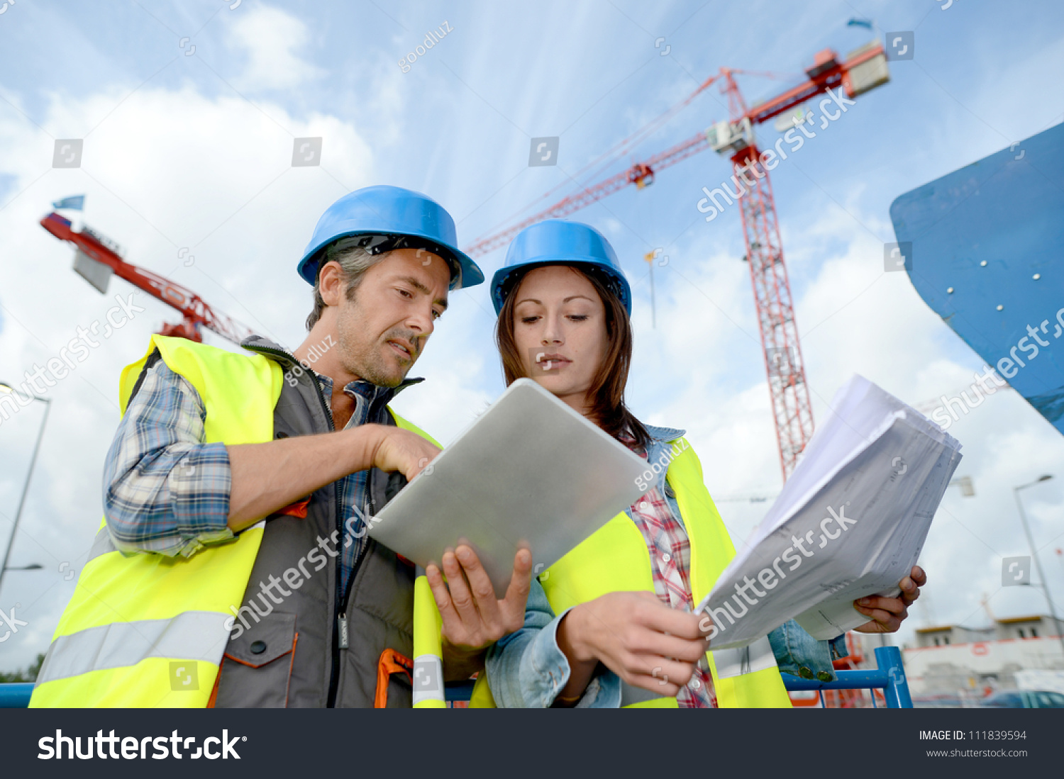 Construction Manager Engineer Working On Building Stock ...