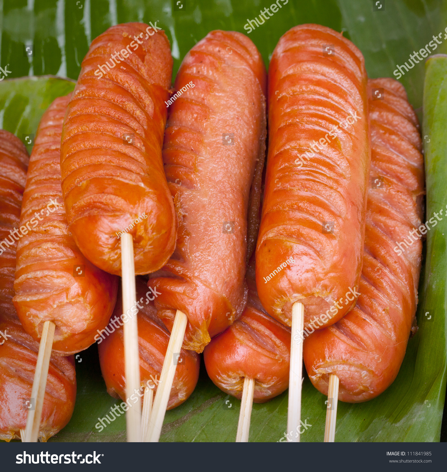 Sausage Struck Bamboo Stick Fire Hot Stock Photo 111841985 ...