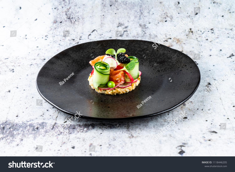 Shrimp Tartar Smoked Salmon Pickled Cucumber Stock Photo Edit Now 1118446205