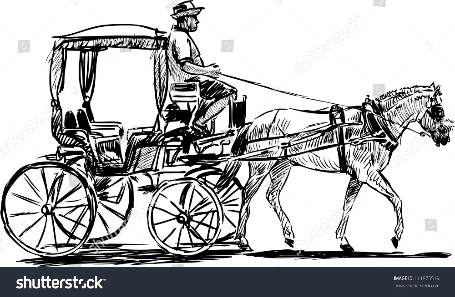 How To Draw A Horse Carriage Jpg 1500x978 Carriage Drawings