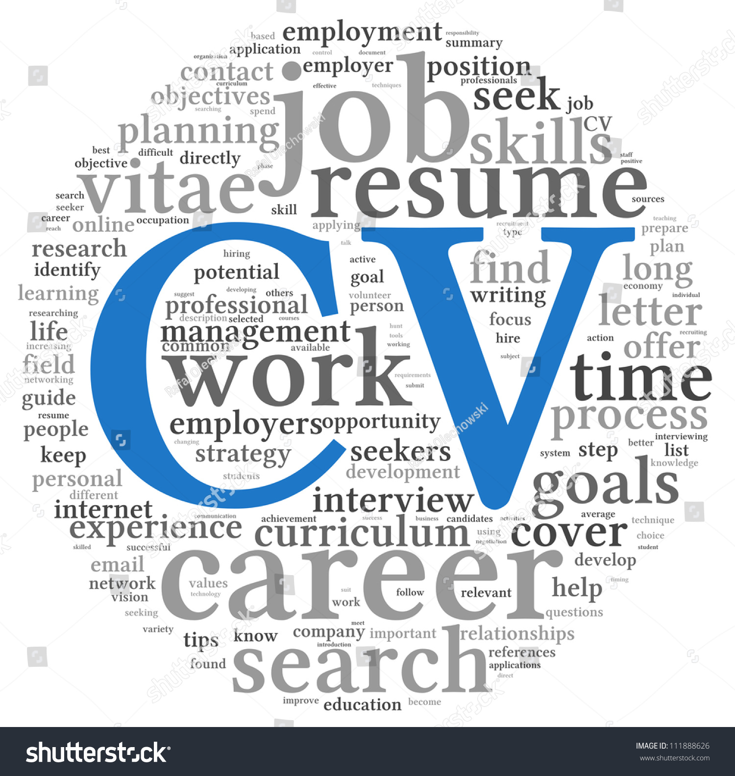 cv curriculum vitae concept word tag stock illustration