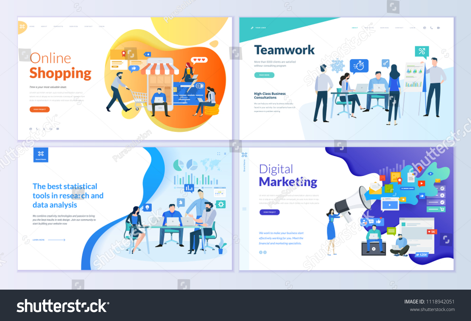 Set of web page design templates for online shopping, digital marketing, teamwork, business strategy and analytics. Modern vector illustration concepts for website and mobile website development.