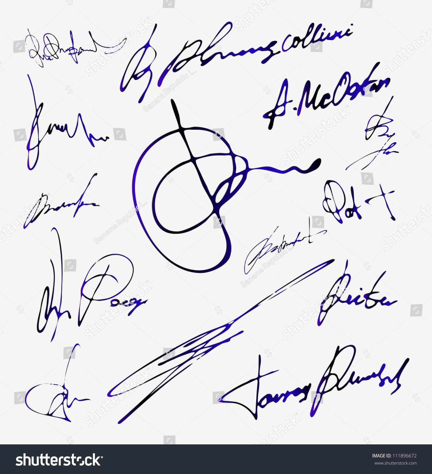 signature vector autograph name stock vector 111896672