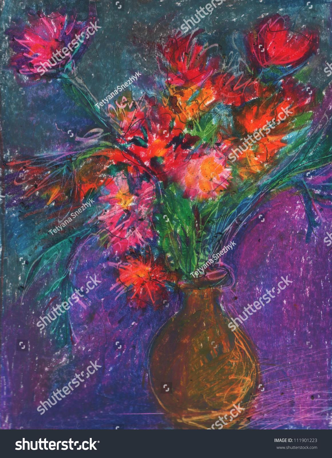 Bunch Flower Oil Pastel Art Painting Stock Illustration 111901223 ...