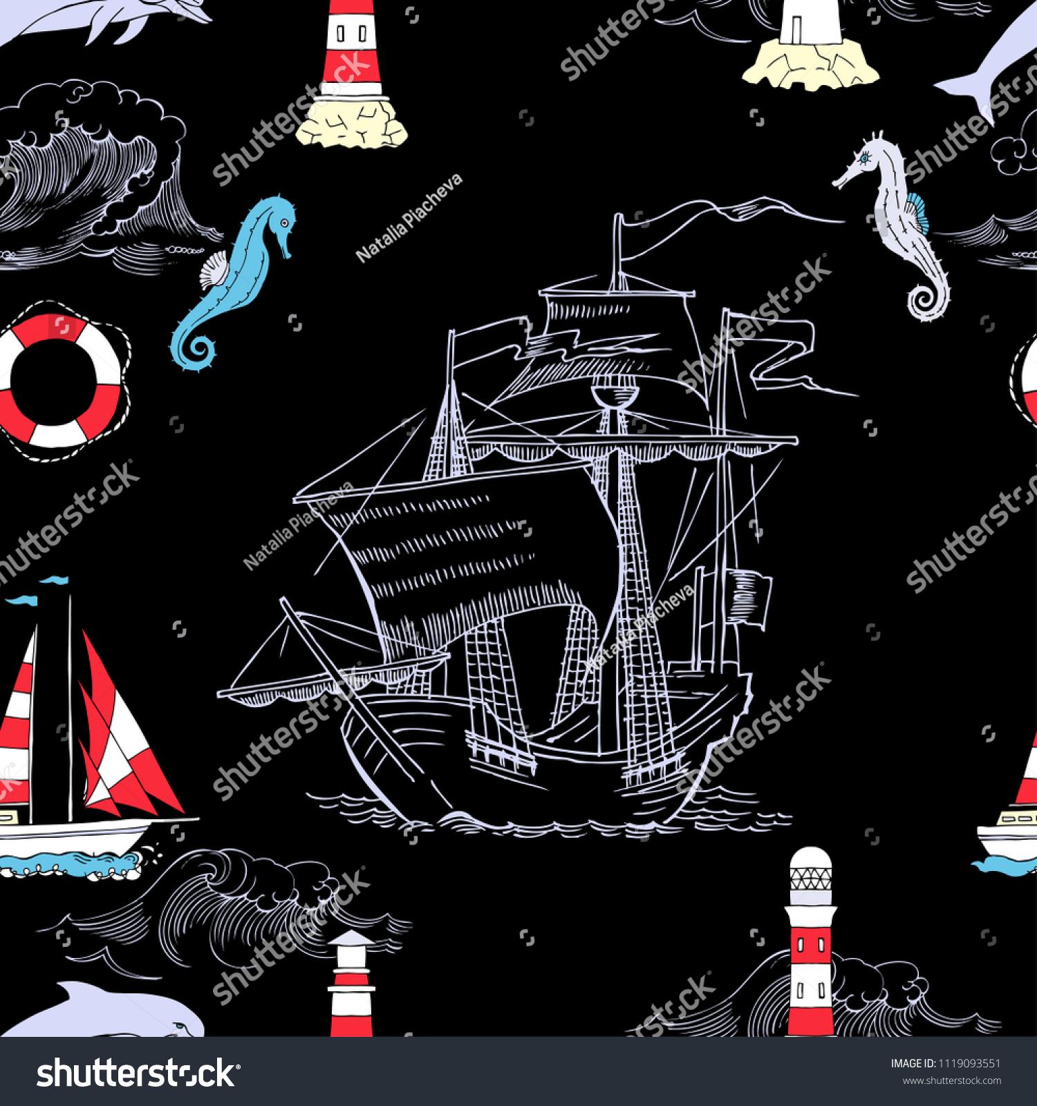 Nautical Seamless Pattern Sailing Vesselsand Sea Stock Illustration