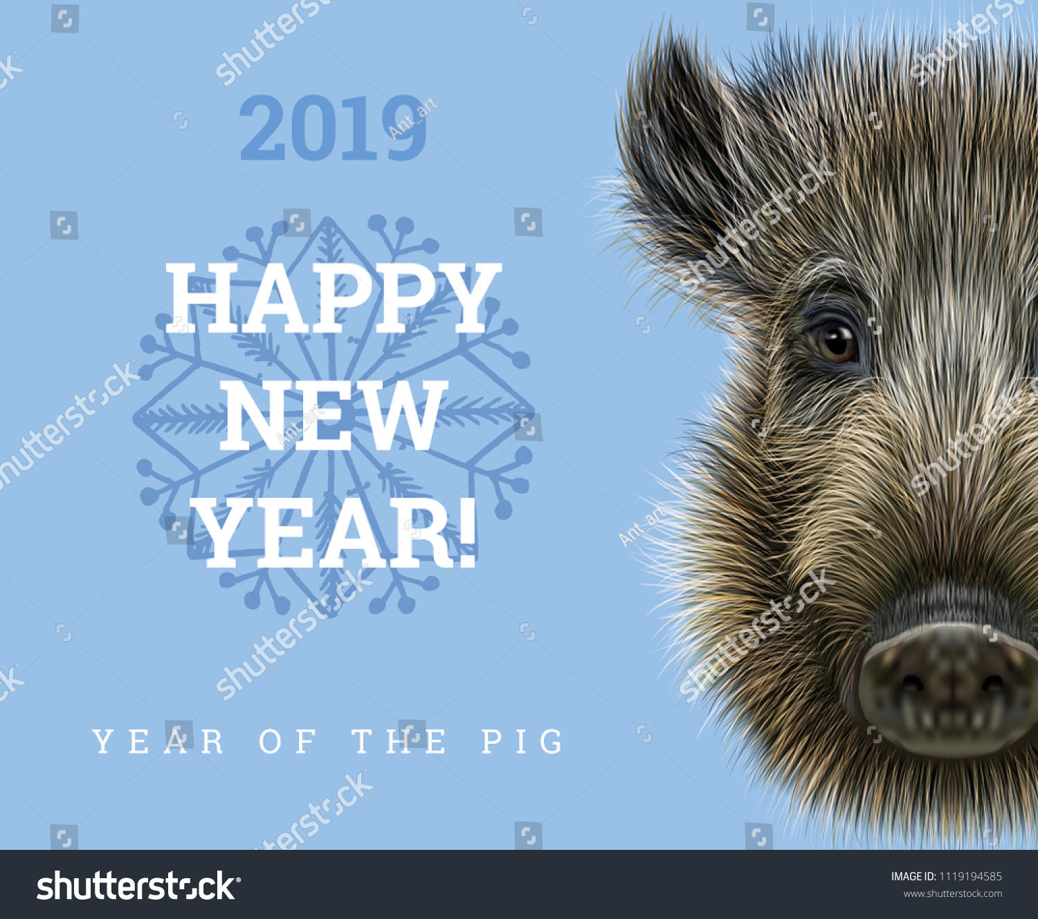 Happy New Year 2019 Year Of The Pig Paper Card
