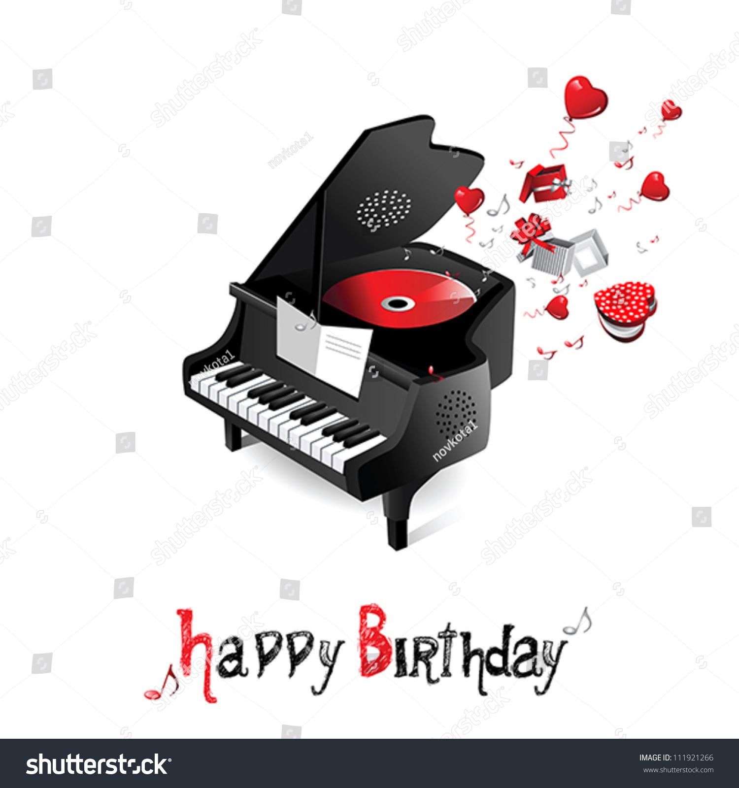 Happy Birthday Piano Stock Vector Illustration 111921266 ...