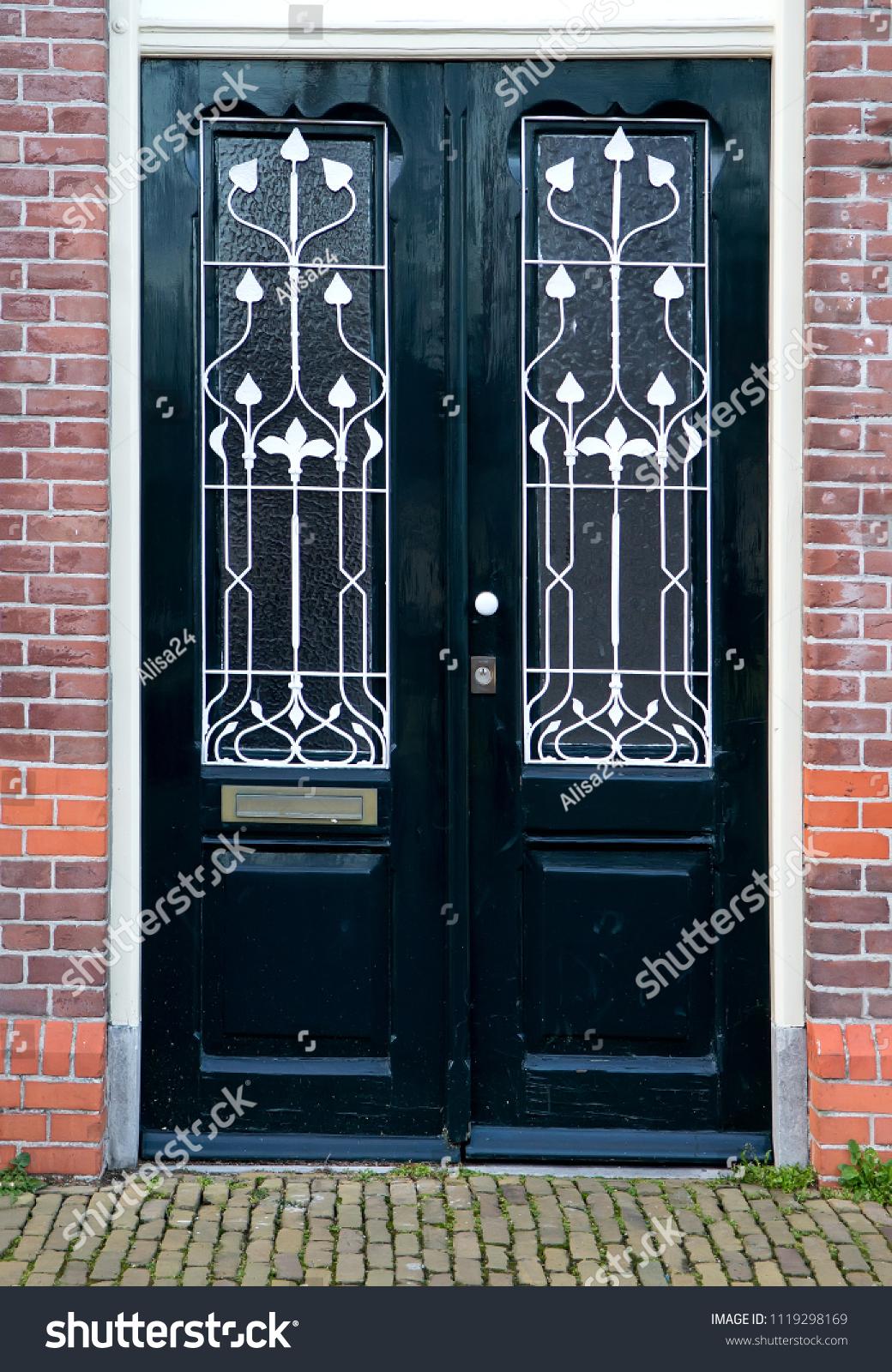 Beautiful Black Double Entrance Door Glass Stock Photo Edit Now