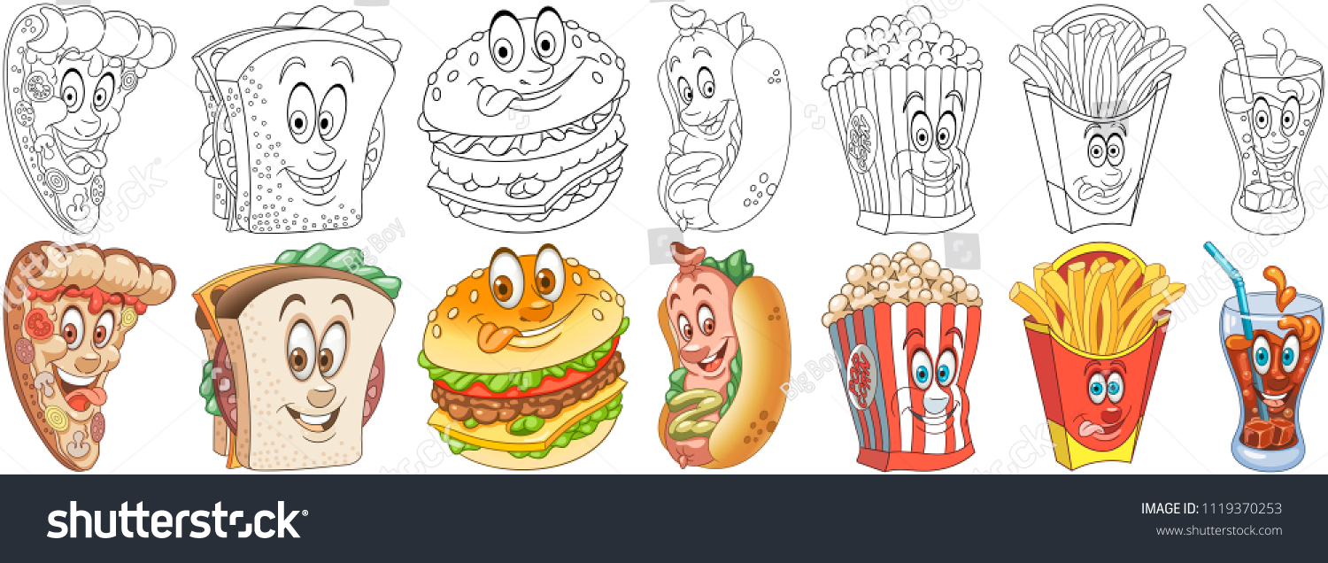 Cartoon Fast Food Collection Coloring Pages Stock Vektorgrafik