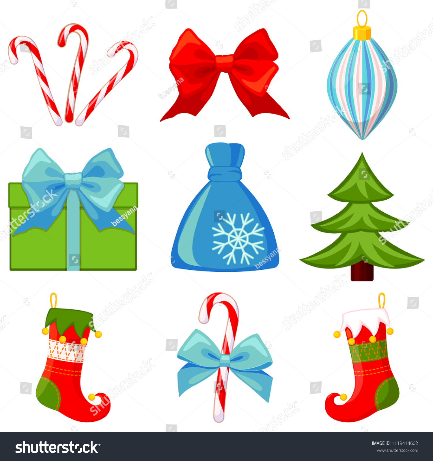 Colorful Cartoon 9 Christmas Elements Set New Year Holiday Decorations