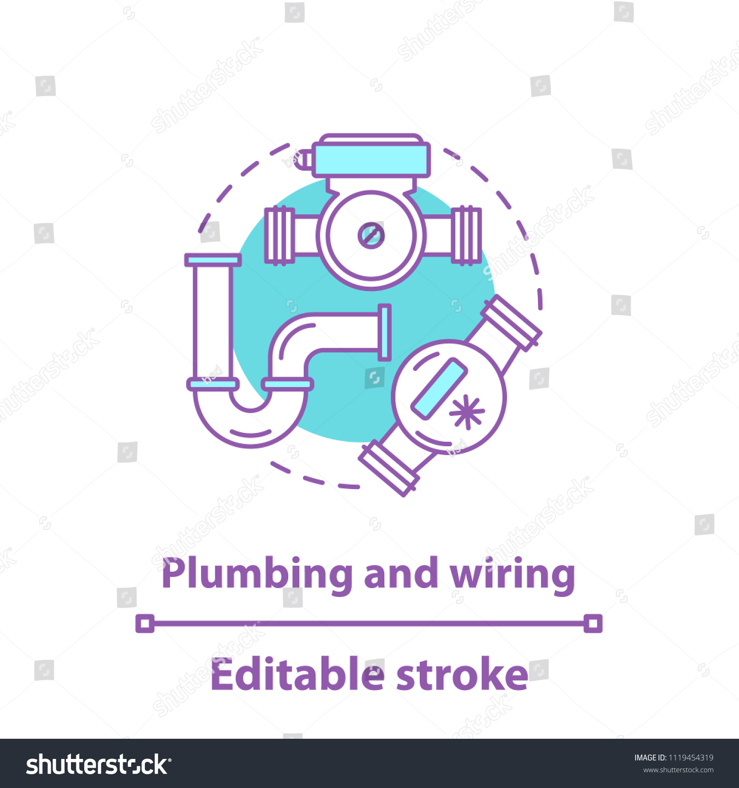 Vector de stock (libre de regalías) sobre Plumbing Wiring ... on
