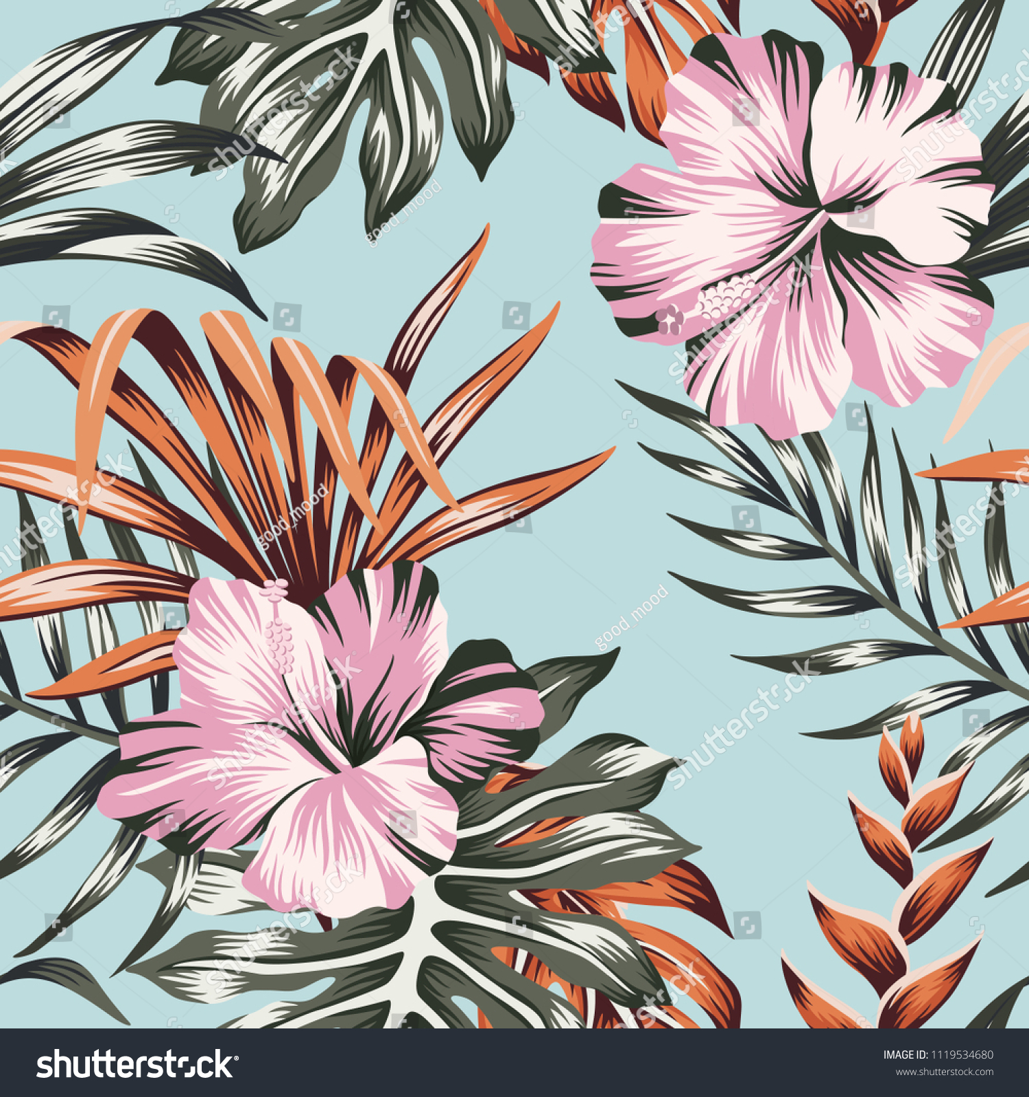 Tropical Floral Pink Hibiscus Flower Orange Stock Vector Royalty
