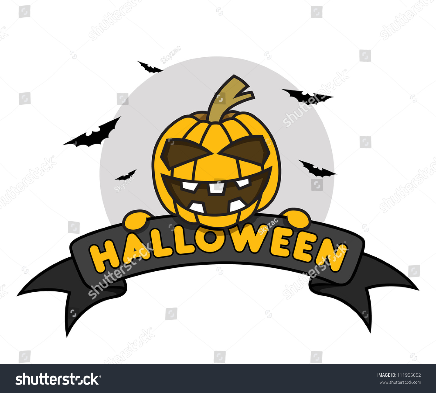 Pumpkin Hide Behind The Ribbon With Text Saying Happy Halloween