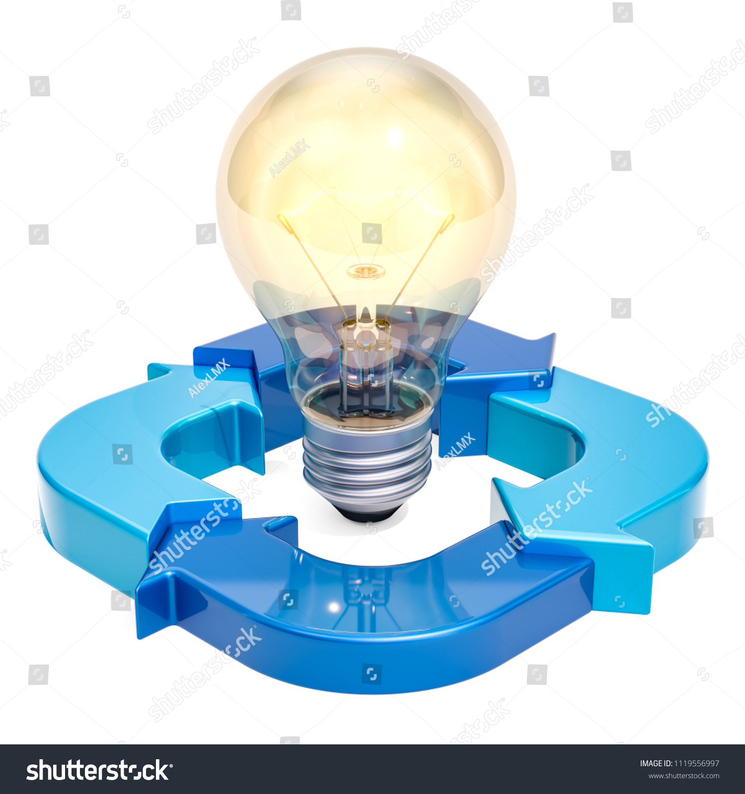 Ring Diagram Blue Arrows Light Bulb Stock Illustration 1119556997 Incandescent From With 3d Rendering Isolated On White Background