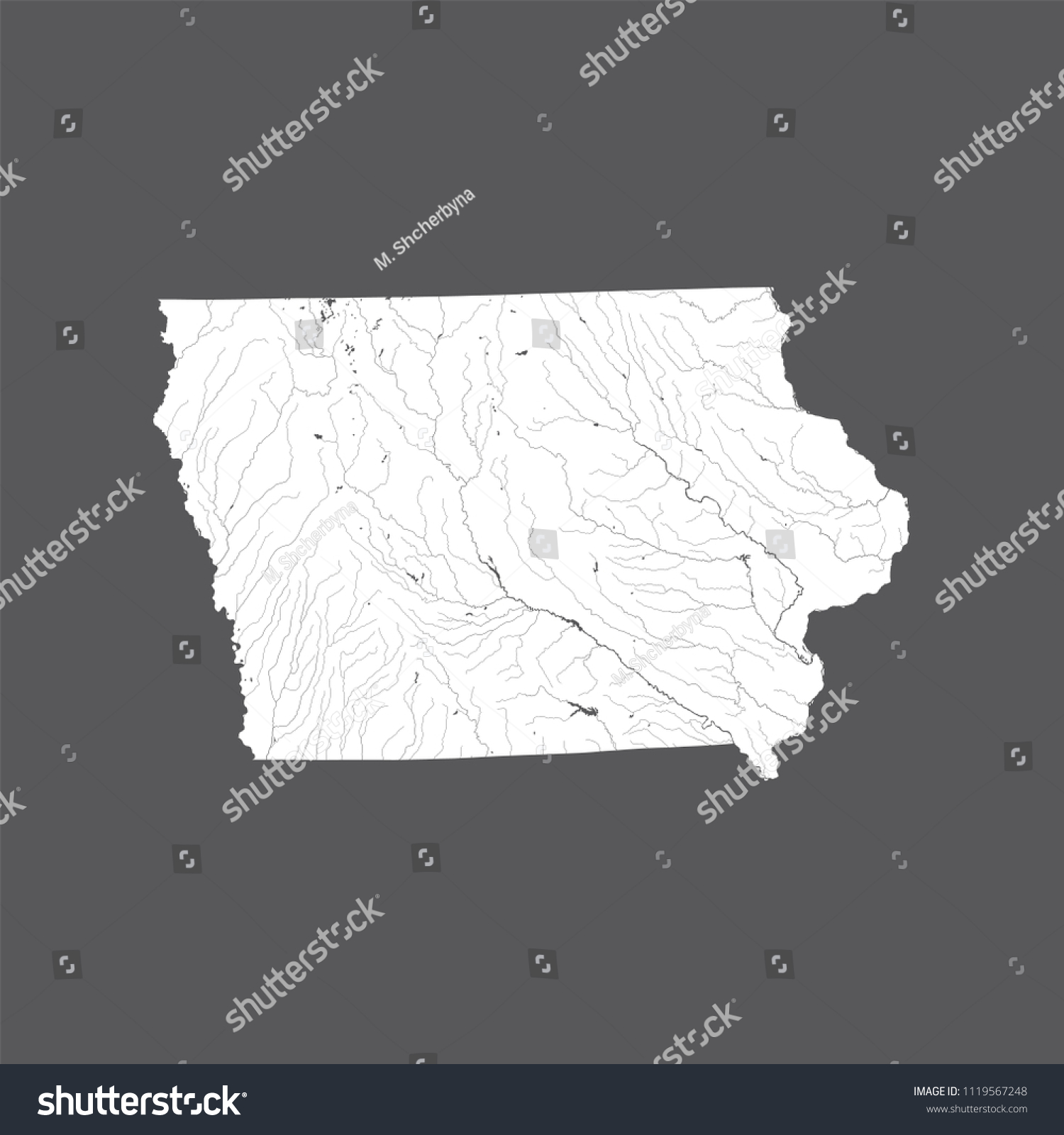 US States Map Iowa Hand Made Stock Vector (Royalty Free) 1119567248 on