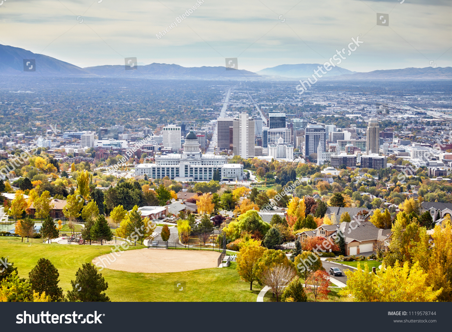 Aerial view of the Salt Lake City downtown in autumn, Utah, USA. #1119578744