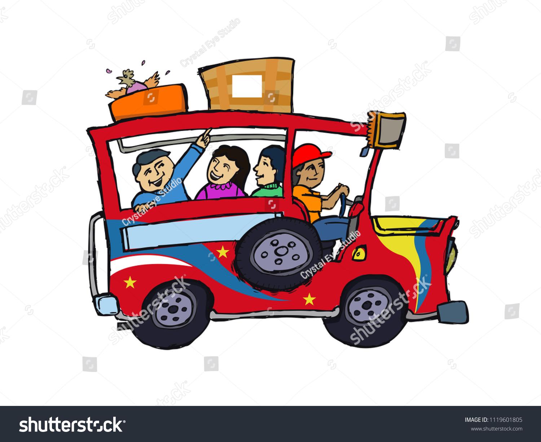 Philippine Jeepney Cartoon Art Hand Sketch Stock Vector Royalty