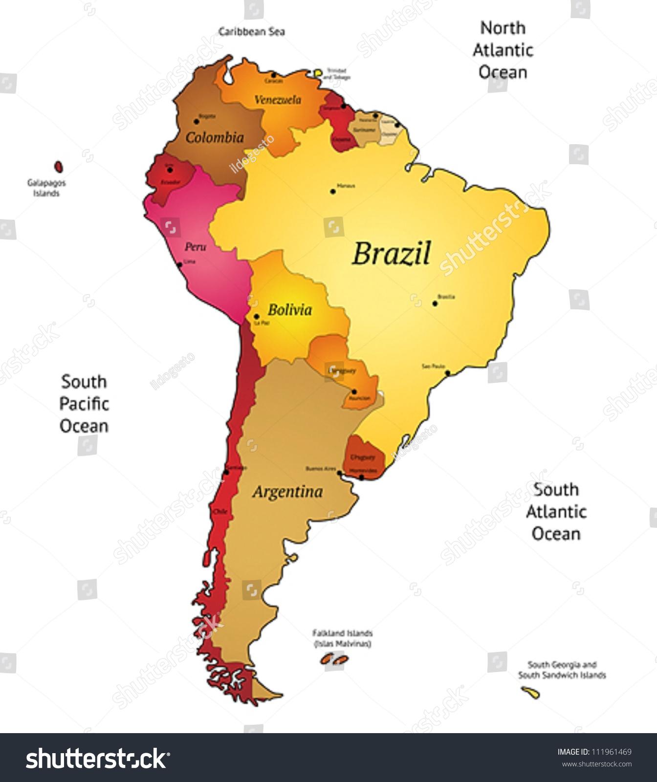 Map Latin America Vector Illustration Stock Vector - Map of the latin america