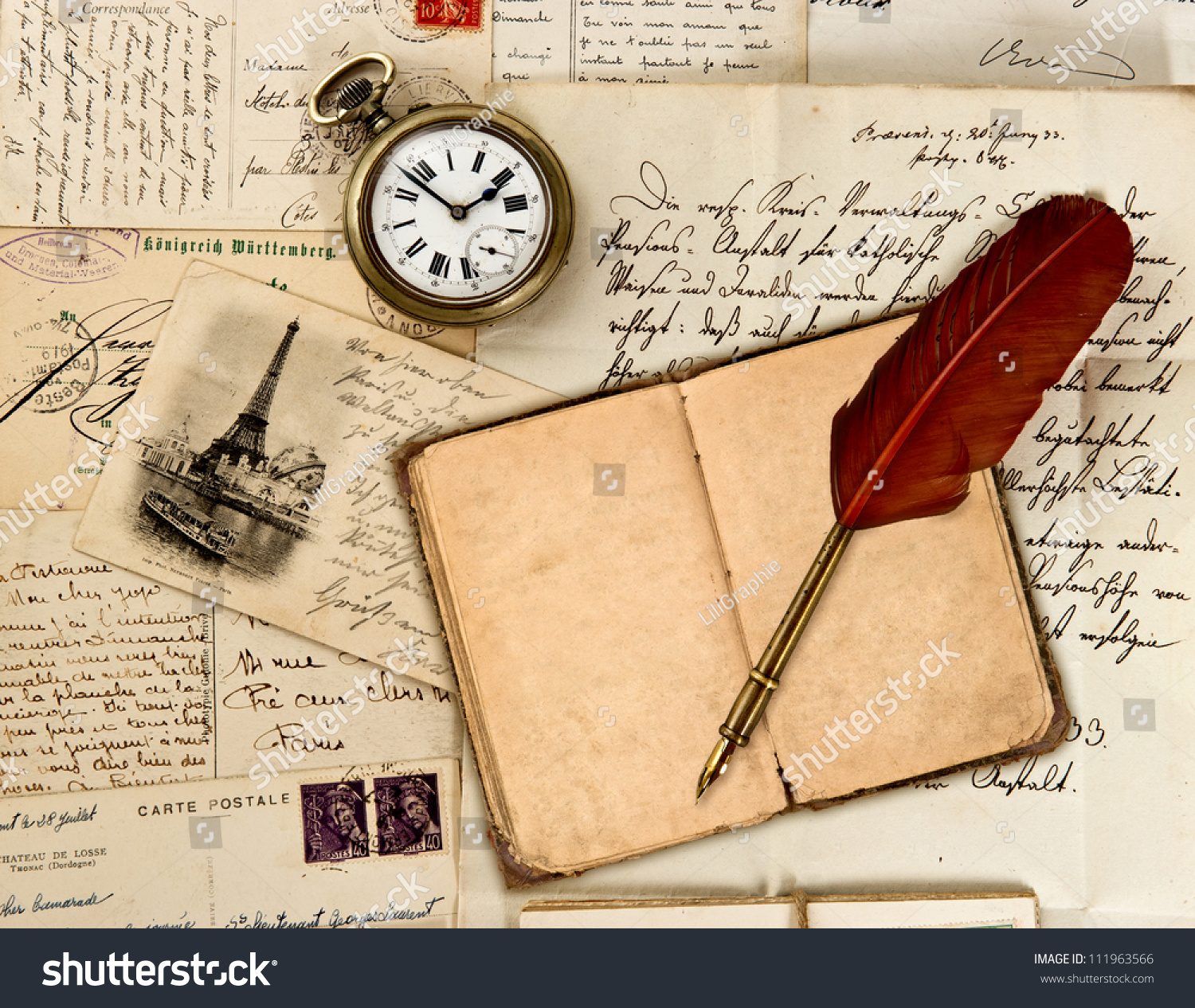 Travel Book Diary Old Letters Post Cards And Feather Quill Nostalgic Vintage Background
