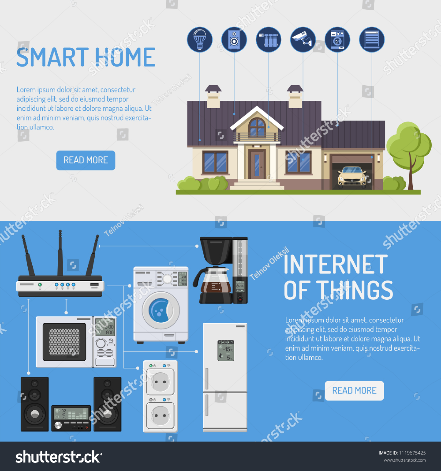 Smart House Internet Things Horizontal Banners Stock Vector (Royalty