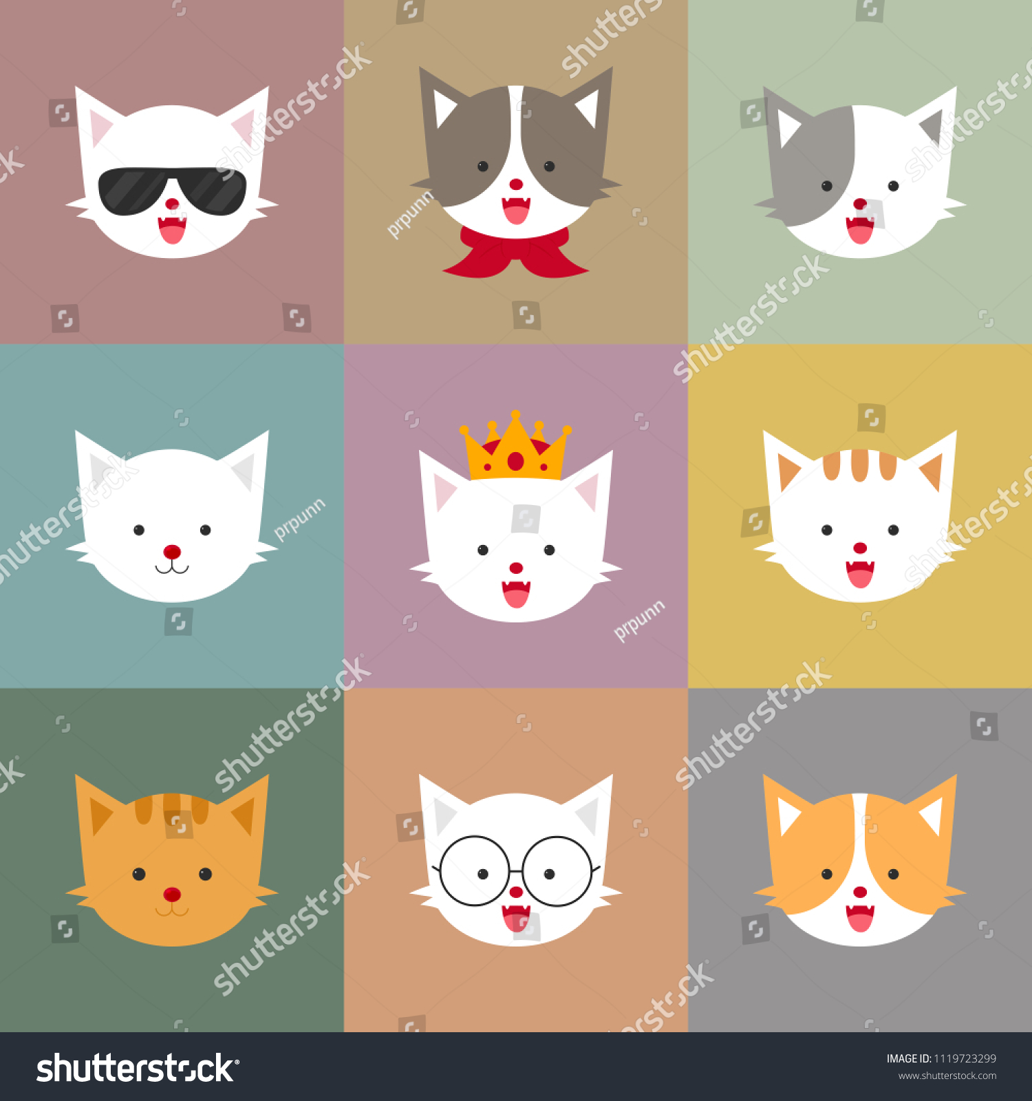 Cat Portraits Colorful Pastel Squares Happy Stock Vector Royalty