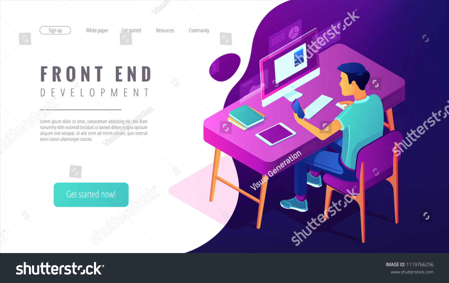 2fa882784f8c Isometric front end development landing page concept. Front end developer  of website and app interfaces