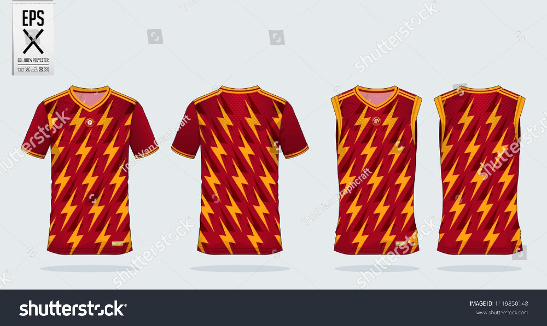 Thunderbolt Pattern Tshirt Sport Design Template Stock Vector