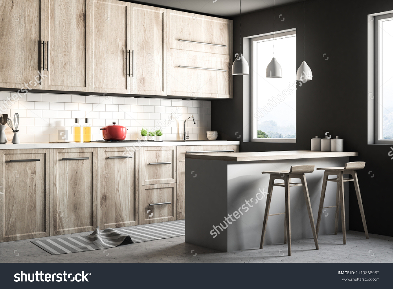 Black Scandinavian Style Kitchen Corner Blue Stock Illustration 1119868982