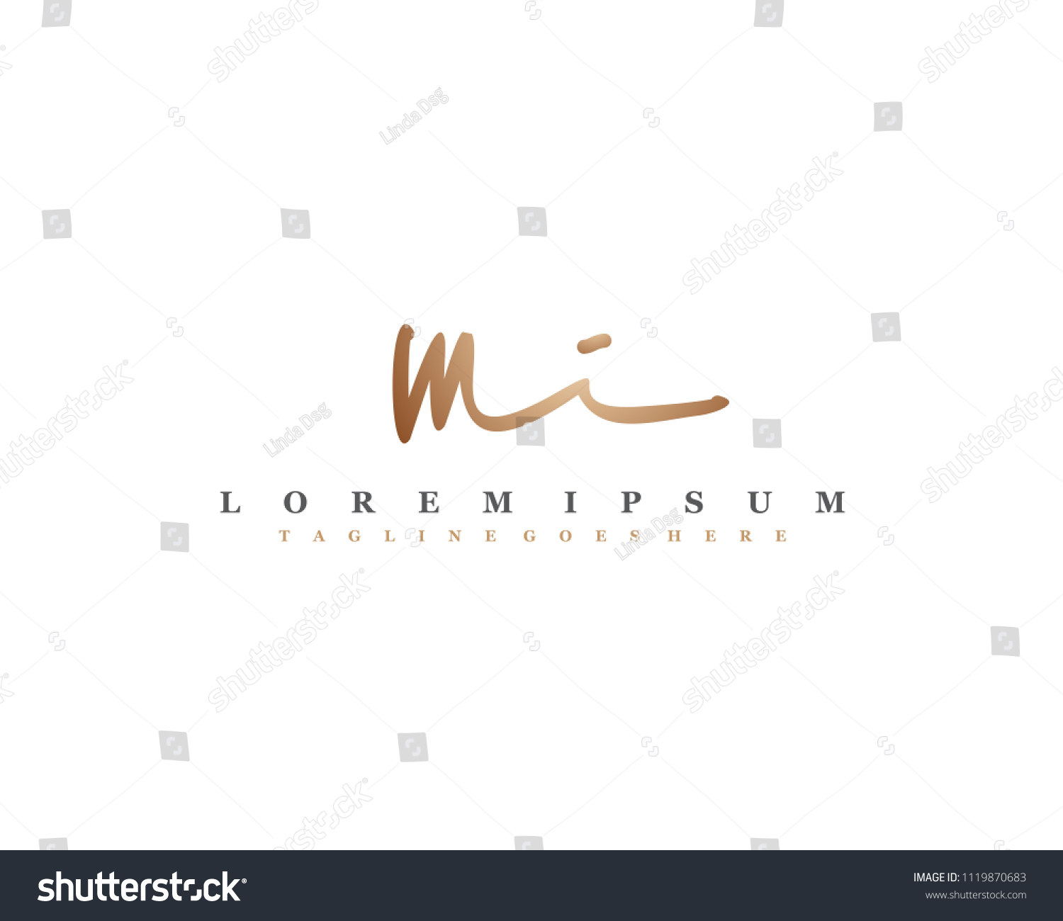 Initial m i signature logo letter logo with copper color