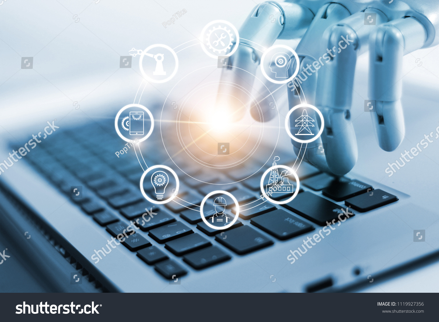 Hand Robotics Connecting Industrial Network Connection Stock Photo Diagram Of To On Laptop Artificial Intelligence Futuristic Technology