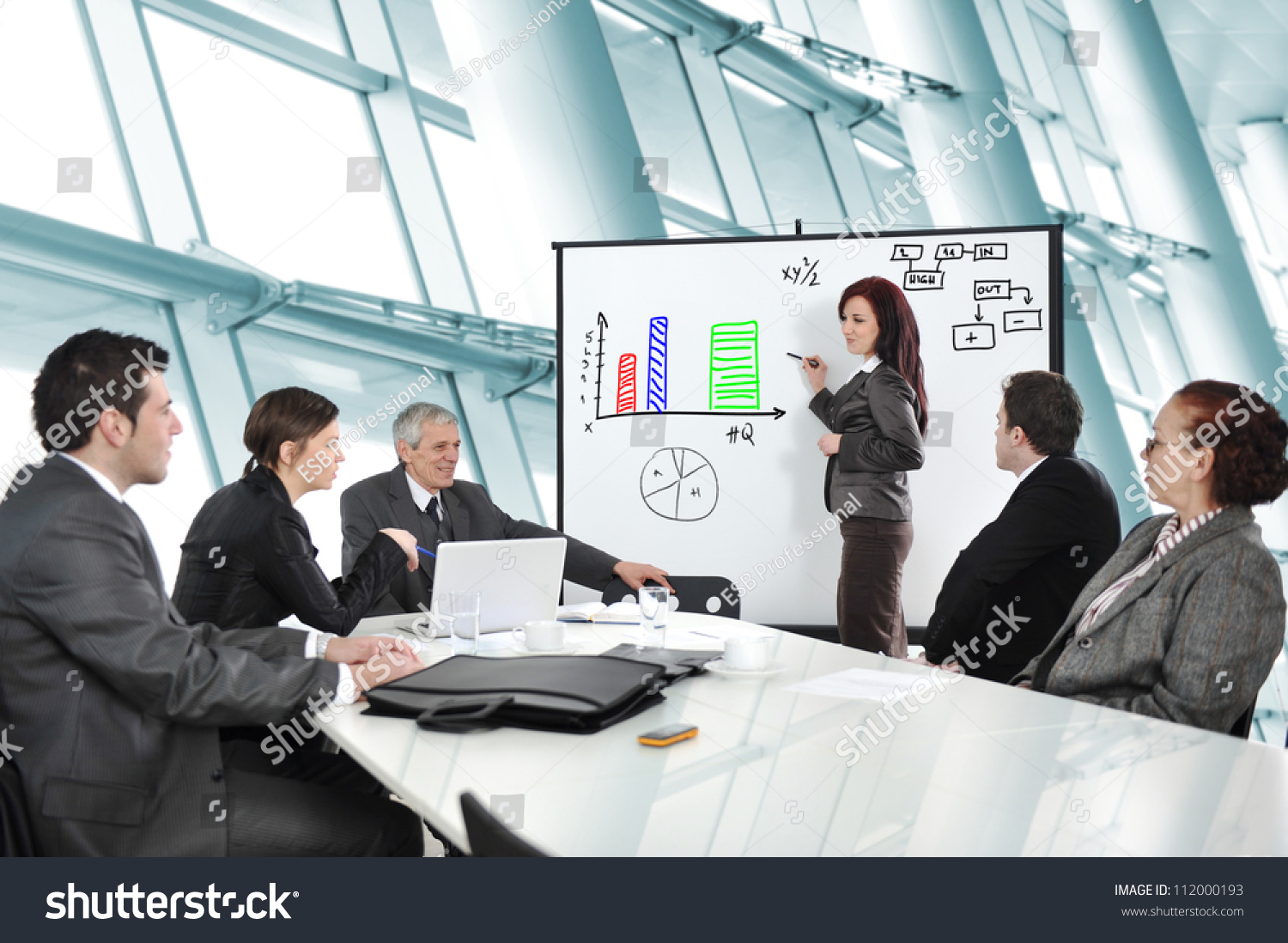 business people having on presentation office stock photo edit now