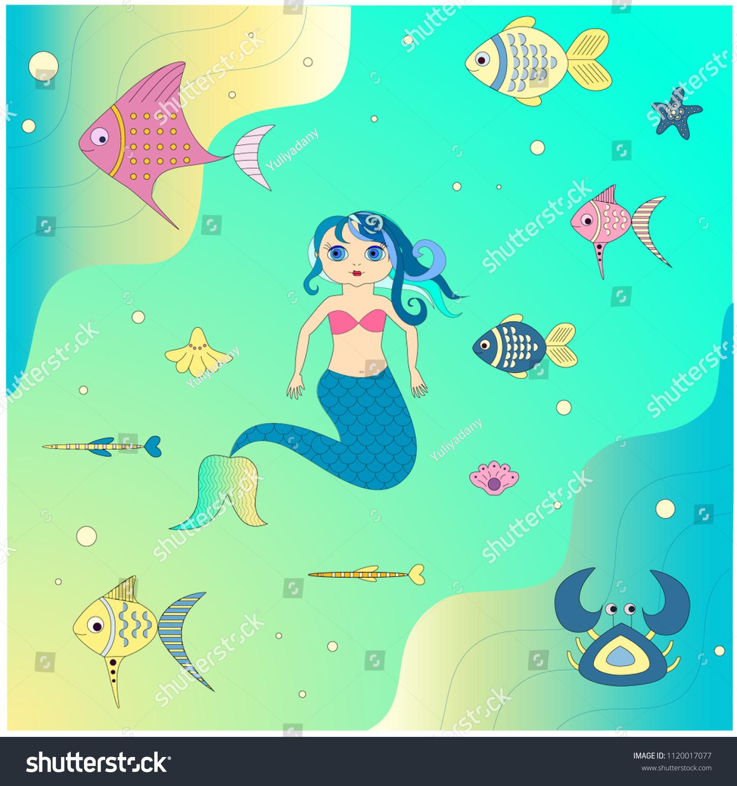 Animated Pictures Of Seashells mermaid underwater world fish crab seashells stock vector