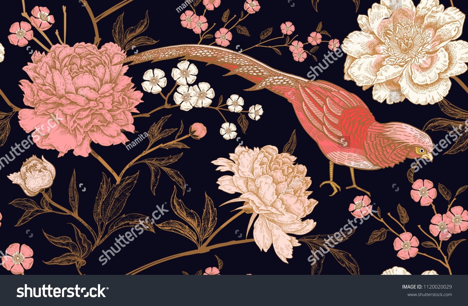 Peonies and pheasants. Floral vintage seamless pattern with flowers and birds. Black, pink and gold color. Oriental style. Vector illustration art. For design textiles, wrapping paper, wallpaper. #1120020029