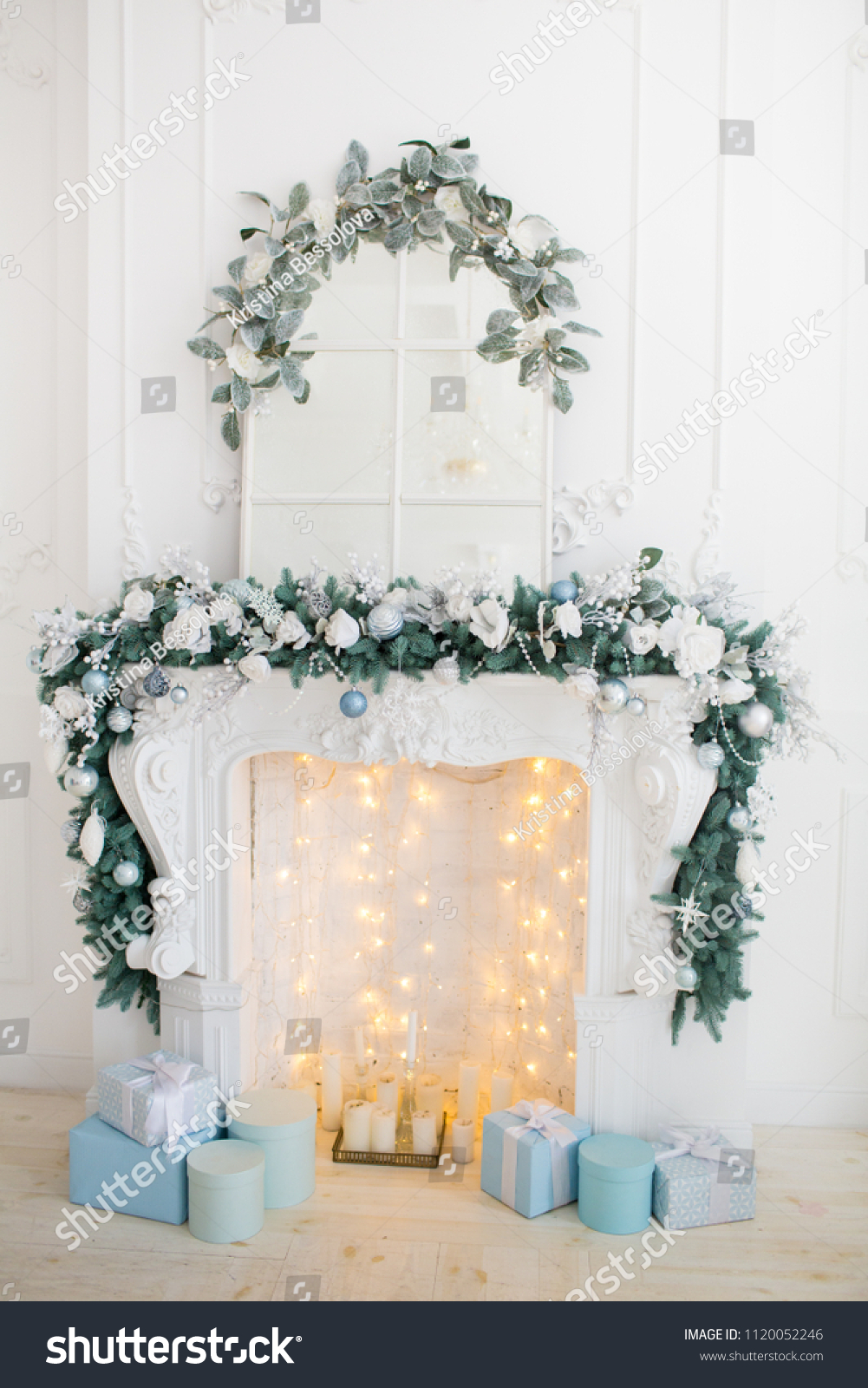 Fireplace Blue White Christmas Decorations Present Stock Photo (Edit ...