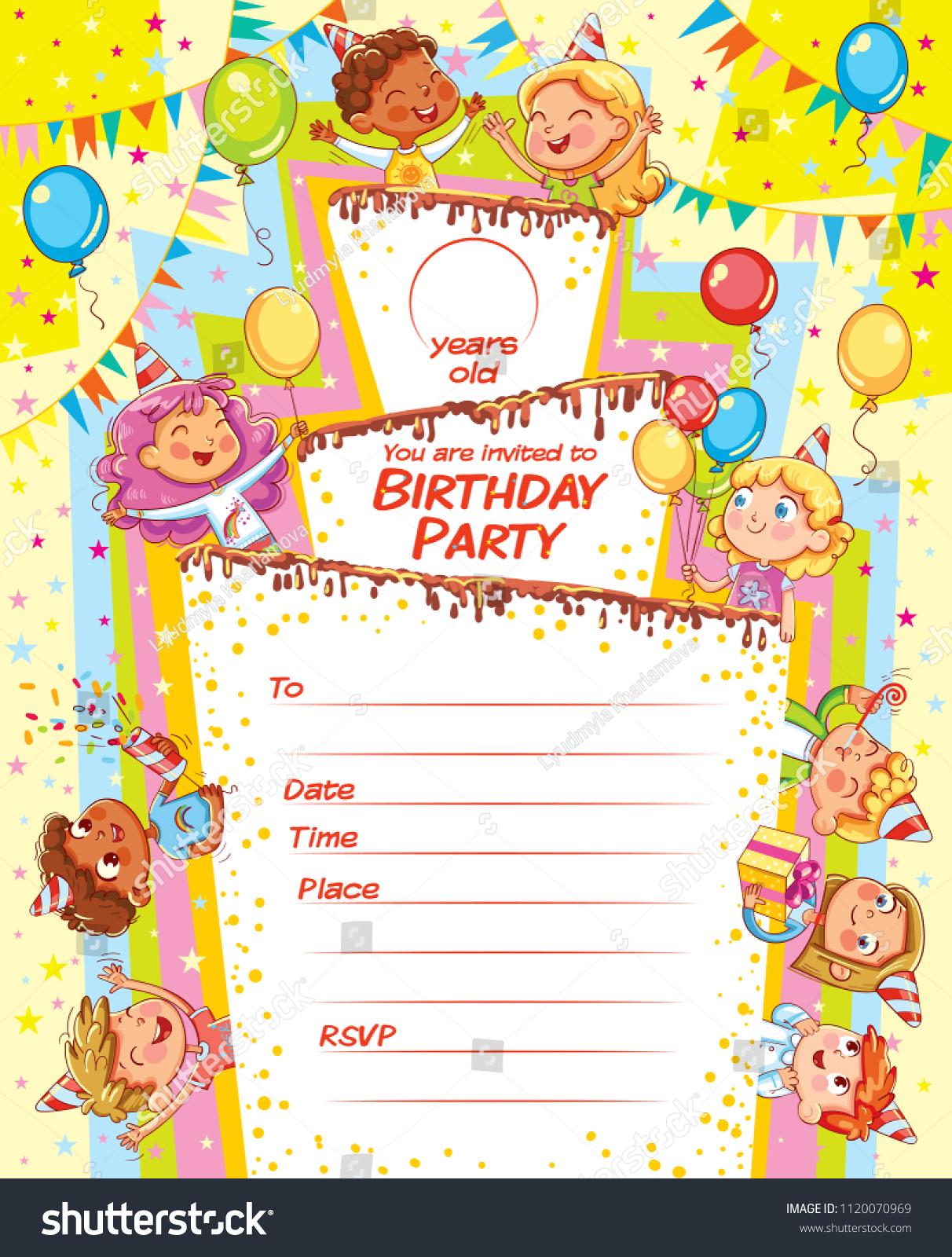 Invitation Card Birthday Party Template Filing Vector De Stock
