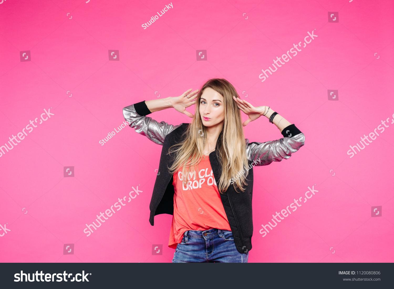 Swag Confident Stylish Teenage Girl Posing Stock Photo (Edit